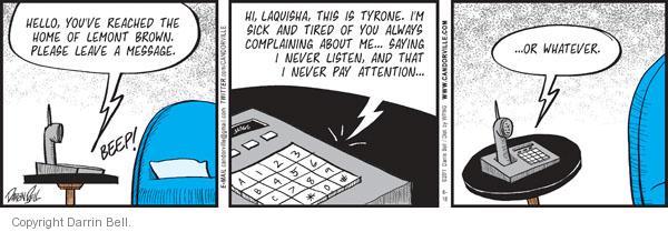 Cartoonist Darrin Bell  Candorville 2011-06-18 telephone