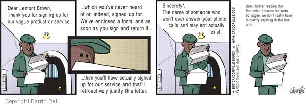 Cartoonist Darrin Bell  Candorville 2011-09-17 fine print