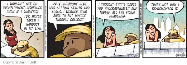 Cartoonist Darrin Bell  Candorville 2011-12-30 unemployment