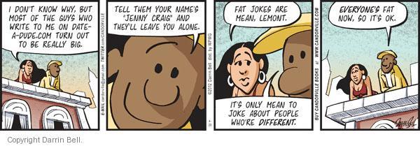 Comic Strip Darrin Bell  Candorville 2012-04-20 overweight