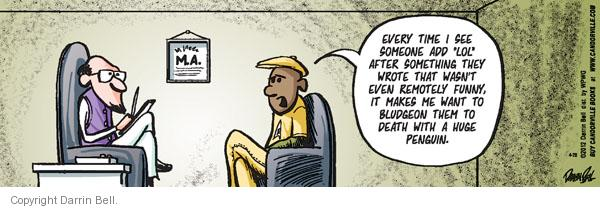Cartoonist Darrin Bell  Candorville 2012-04-28 therapist