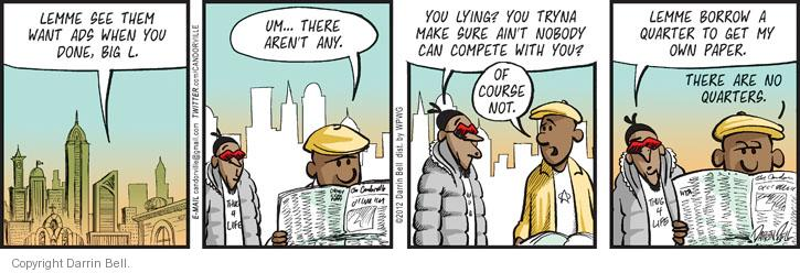 Cartoonist Darrin Bell  Candorville 2012-05-21 unemployment
