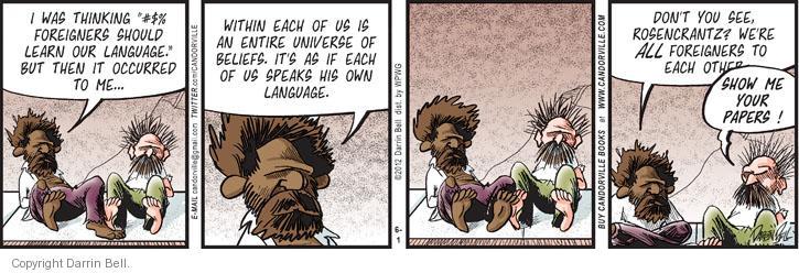 Comic Strip Darrin Bell  Candorville 2012-06-01 foreigner