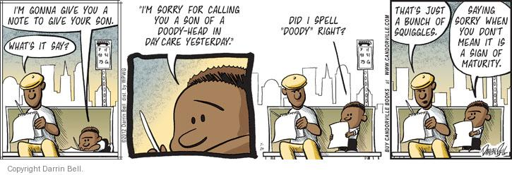 Comic Strip Darrin Bell  Candorville 2012-07-24 apology