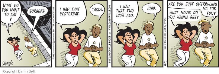 Comic Strip Darrin Bell  Candorville 2012-08-18 burger