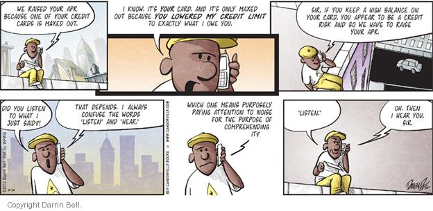 Comic Strip Darrin Bell  Candorville 2012-08-26 credit card limit