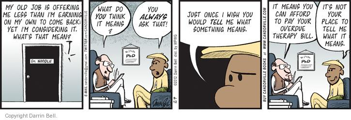Comic Strip Darrin Bell  Candorville 2012-09-12 psychiatry