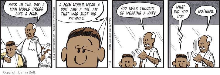 Comic Strip Darrin Bell  Candorville 2012-10-01 hat