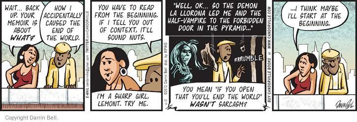 Cartoonist Darrin Bell  Candorville 2012-12-13 read