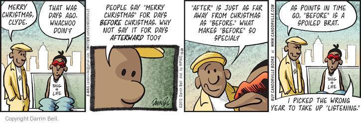 Cartoonist Darrin Bell  Candorville 2012-12-28 greet
