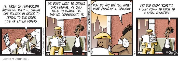 Comic Strip Darrin Bell  Candorville 2013-02-23 GOP