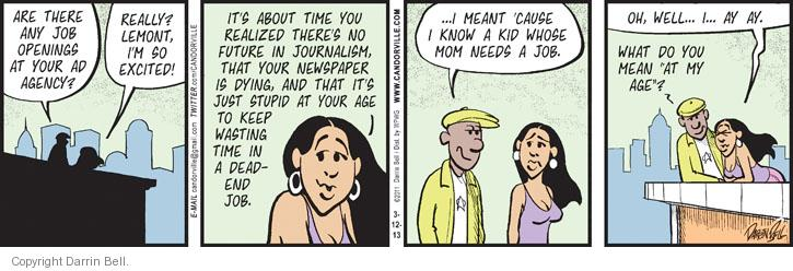 Comic Strip Darrin Bell  Candorville 2013-03-12 get older