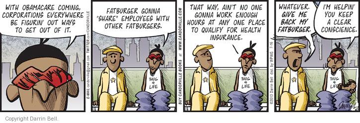 Cartoonist Darrin Bell  Candorville 2013-07-16 medical insurance