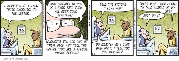 Cartoonist Darrin Bell  Candorville 2013-08-09 psychoanalysis