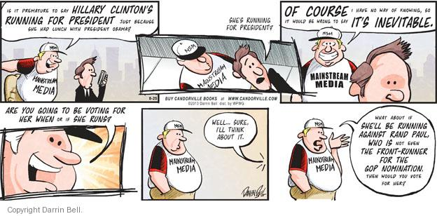 Cartoonist Darrin Bell  Candorville 2013-08-25 mainstream media