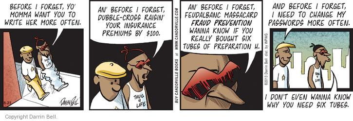 Comic Strip Darrin Bell  Candorville 2013-08-23 insurance premium