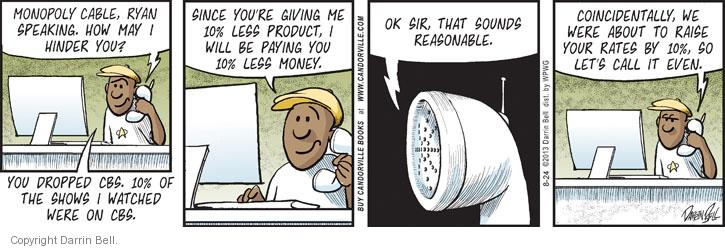 Comic Strip Darrin Bell  Candorville 2013-08-24 cable