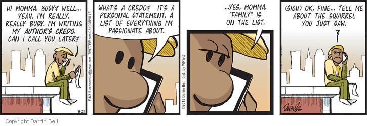 Cartoonist Darrin Bell  Candorville 2013-09-21 son