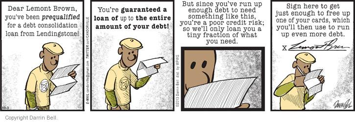 Comic Strip Darrin Bell  Candorville 2013-10-03 finance