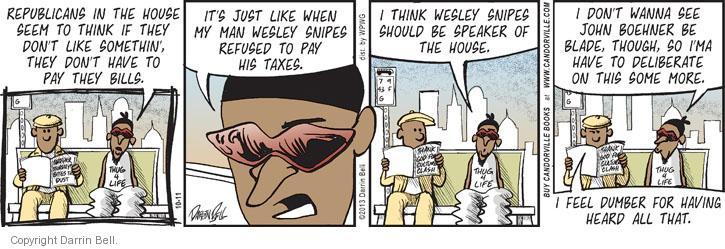 Cartoonist Darrin Bell  Candorville 2013-10-11 politics