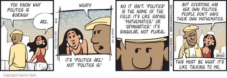 Cartoonist Darrin Bell  Candorville 2013-10-12 politics