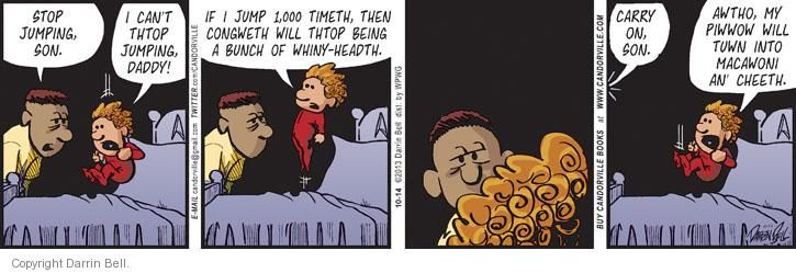 Comic Strip Darrin Bell  Candorville 2013-10-14 jump on bed