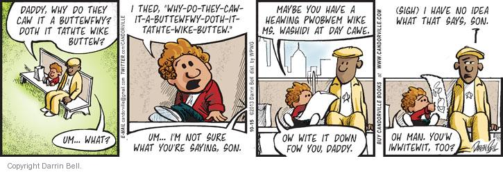 Cartoonist Darrin Bell  Candorville 2013-10-15 fathers and sons