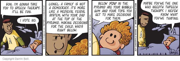 Cartoonist Darrin Bell  Candorville 2013-10-17 son