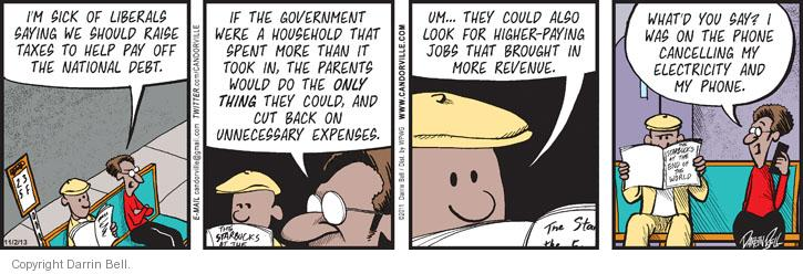 Comic Strip Darrin Bell  Candorville 2013-11-02 spending cut