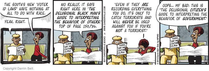 Cartoonist Darrin Bell  Candorville 2013-11-04 politics