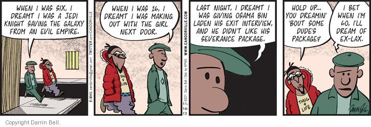 Comic Strip Darrin Bell  Candorville 2013-11-14 hold up