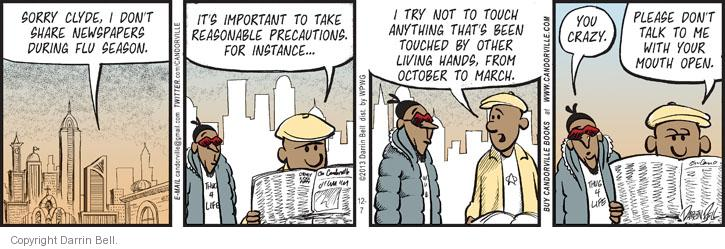Comic Strip Darrin Bell  Candorville 2013-12-07 precaution