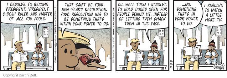 Comic Strip Darrin Bell  Candorville 2013-12-31 in door