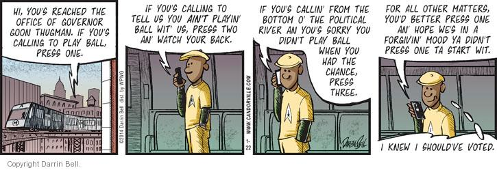 Comic Strip Darrin Bell  Candorville 2014-01-22 governor