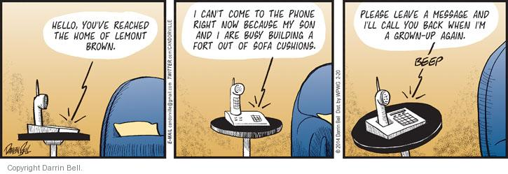 Comic Strip Darrin Bell  Candorville 2014-02-20 phone home