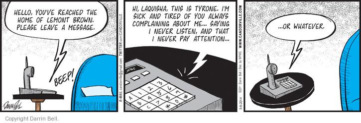 Comic Strip Darrin Bell  Candorville 2014-03-08 voicemail