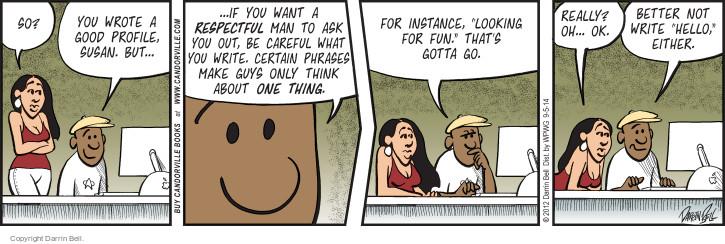 Cartoonist Darrin Bell  Candorville 2014-09-05 careful