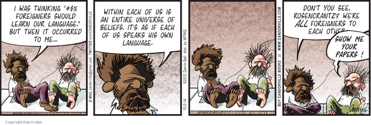 Comic Strip Darrin Bell  Candorville 2014-10-02 foreign language