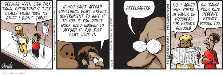 Comic Strip Darrin Bell  Candorville 2014-10-03 freeloader