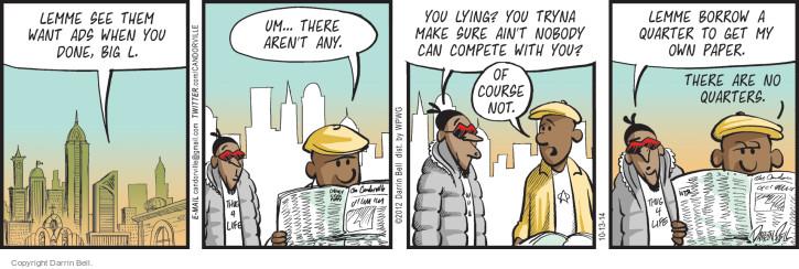 Comic Strip Darrin Bell  Candorville 2014-10-13 newspaper advertising