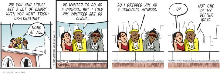 Comic Strip Darrin Bell  Candorville 2014-11-01 treat