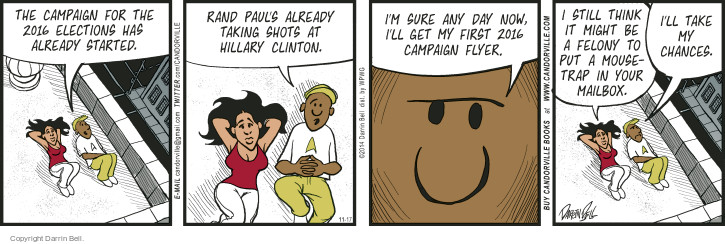 Comic Strip Darrin Bell  Candorville 2014-11-17 2016 Election Hillary Clinton