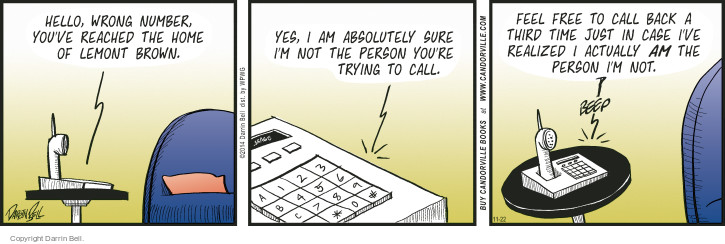 Comic Strip Darrin Bell  Candorville 2014-11-22 telephone