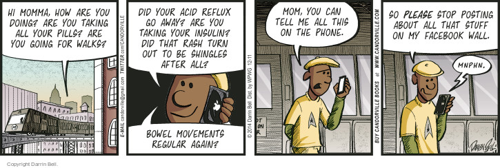 Comic Strip Darrin Bell  Candorville 2014-12-11 phone conversation