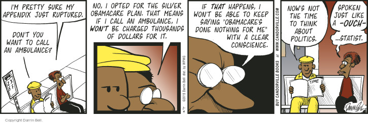 Cartoonist Darrin Bell  Candorville 2015-01-09 medical insurance