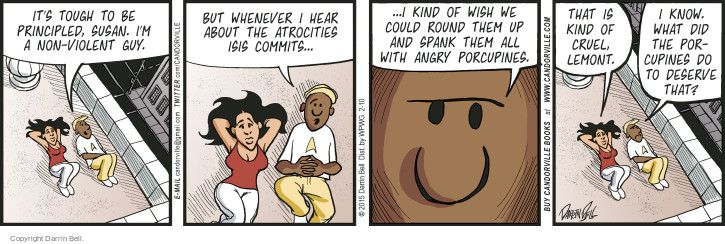 Cartoonist Darrin Bell  Candorville 2015-02-10 aggression