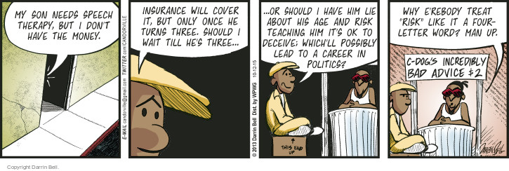 Comic Strip Darrin Bell  Candorville 2015-10-12 dog treat
