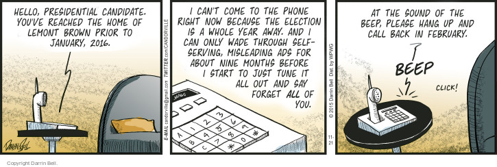 Comic Strip Darrin Bell  Candorville 2015-11-21 phone home