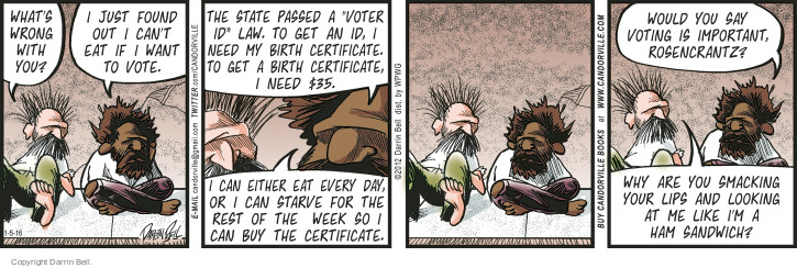 Comic Strip Darrin Bell  Candorville 2016-01-05 voter identification