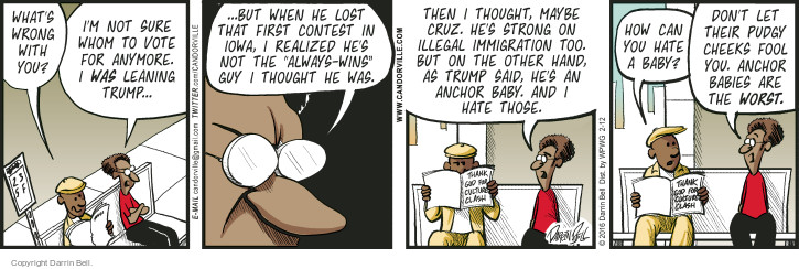 Comic Strip Darrin Bell  Candorville 2016-02-12 illegal immigrant